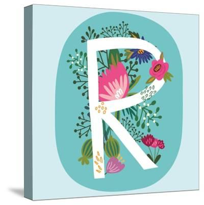 Vector Hand Drawn Floral Monogram with Vintage Amazing Flowers! Letters R Perfect for Backgrounds O-MarushaBelle-Stretched Canvas Print