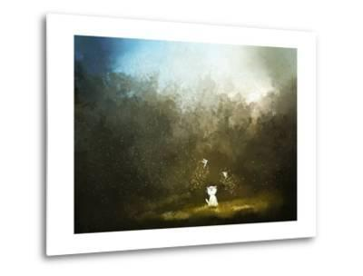 Painting of Kitten Playing with Fairy on Green Grass- Archv-Metal Print