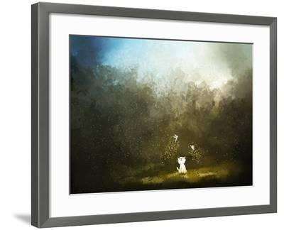 Painting of Kitten Playing with Fairy on Green Grass- Archv-Framed Art Print