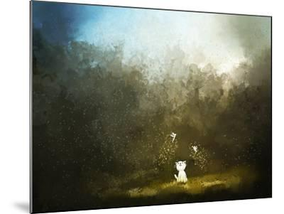 Painting of Kitten Playing with Fairy on Green Grass- Archv-Mounted Art Print