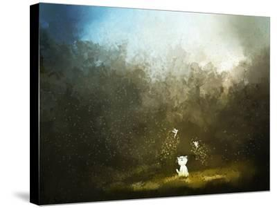 Painting of Kitten Playing with Fairy on Green Grass- Archv-Stretched Canvas Print