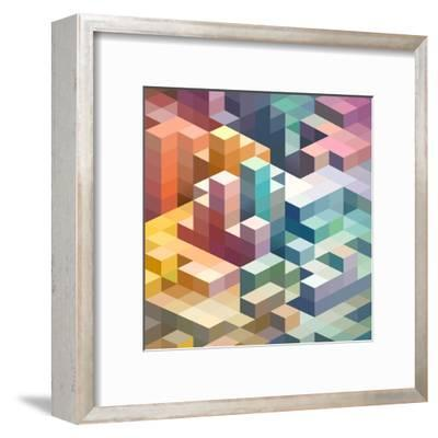 Abstract Background of Geometric Shapes-theromb-Framed Art Print