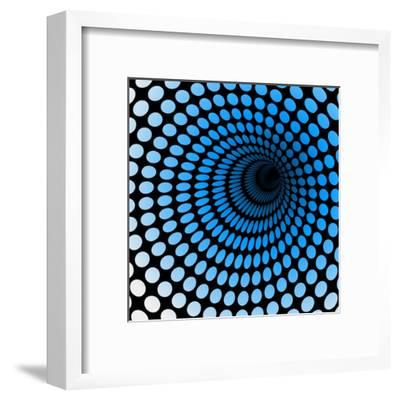 Hi Tech Blue Tunnel, Digital Dynamic Wallpaper, Technology, Science Background. See Others in My Po- artcalin-Framed Art Print