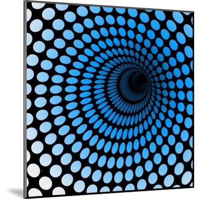 Hi Tech Blue Tunnel, Digital Dynamic Wallpaper, Technology, Science Background. See Others in My Po- artcalin-Mounted Art Print