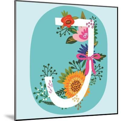Vector Hand Drawn Floral Monogram with Vintage Amazing Flowers! Letters J Perfect for Backgrounds O-MarushaBelle-Mounted Art Print