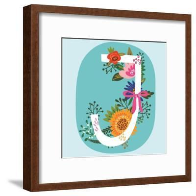 Vector Hand Drawn Floral Monogram with Vintage Amazing Flowers! Letters J Perfect for Backgrounds O-MarushaBelle-Framed Art Print