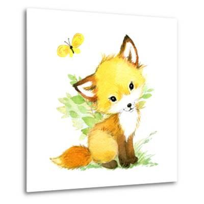 Cute Fox. Watercolor Forest Animal Illustration.-Faenkova Elena-Metal Print