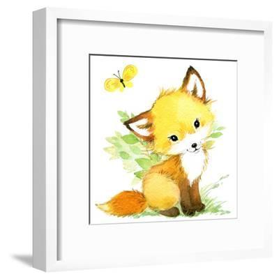 Cute Fox. Watercolor Forest Animal Illustration.-Faenkova Elena-Framed Art Print
