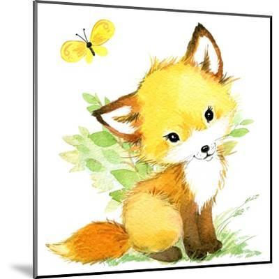 Cute Fox. Watercolor Forest Animal Illustration.-Faenkova Elena-Mounted Art Print