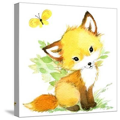 Cute Fox. Watercolor Forest Animal Illustration.-Faenkova Elena-Stretched Canvas Print