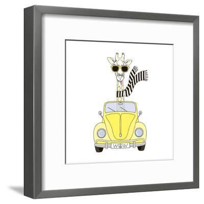 Giraffe in Sunglasses and Scarf Driving Yellow Retro Car-Olga_Angelloz-Framed Art Print