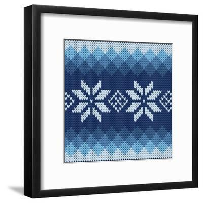 Detailed Knitted Blue Jacquard Pattern with White Flowers- Anna zabella-Framed Art Print