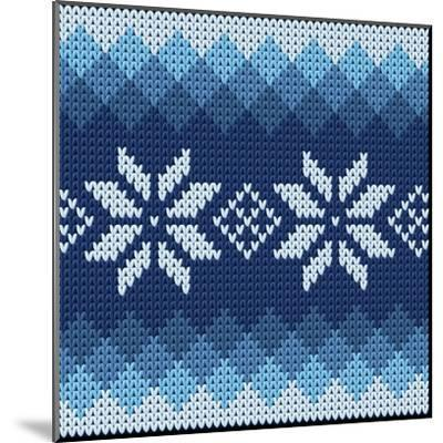 Detailed Knitted Blue Jacquard Pattern with White Flowers- Anna zabella-Mounted Art Print