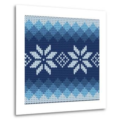 Detailed Knitted Blue Jacquard Pattern with White Flowers- Anna zabella-Metal Print