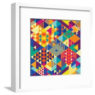 Background with Decorative Geometric and Abstract Elements. Vector Illustration.-emirilen-Framed Art Print