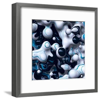 3D Abstract Wavy Bubbles Background, Black White Paint Splash, Fordite Shapes-wacomka-Framed Art Print
