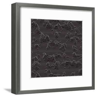 Vector Striped Background. Abstract Line Waves. Sound Wave Oscillation. Funky Curled Lines. Elegant-GarryKillian-Framed Art Print