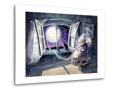 Grandmother Knitting a Sweater with a Lunar Light.Picture Created with Watercolors.-DeepGreen-Metal Print