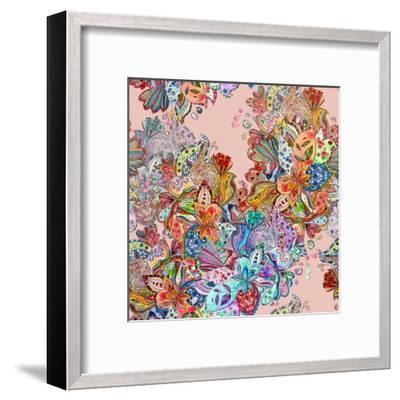 Seamless Texture with Colorful Crazy Mix. Watercolor Painting-Oksana Alekseeva-Framed Art Print