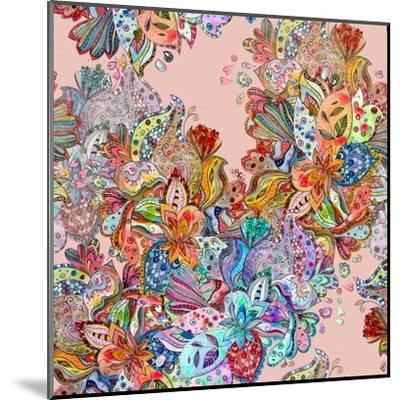 Seamless Texture with Colorful Crazy Mix. Watercolor Painting-Oksana Alekseeva-Mounted Art Print