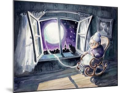 Grandmother Knitting a Sweater with a Lunar Light.Picture Created with Watercolors.-DeepGreen-Mounted Art Print