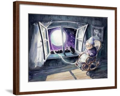 Grandmother Knitting a Sweater with a Lunar Light.Picture Created with Watercolors.-DeepGreen-Framed Art Print