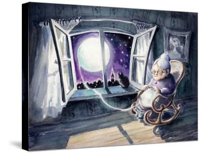 Grandmother Knitting a Sweater with a Lunar Light.Picture Created with Watercolors.-DeepGreen-Stretched Canvas Print