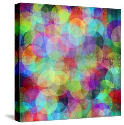 Many Vivid Color Circles on a Grunge Background-Valentina Photos-Stretched Canvas Print