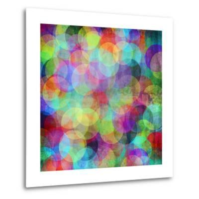 Many Vivid Color Circles on a Grunge Background-Valentina Photos-Metal Print