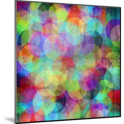 Many Vivid Color Circles on a Grunge Background-Valentina Photos-Mounted Art Print