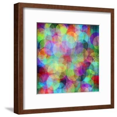 Many Vivid Color Circles on a Grunge Background-Valentina Photos-Framed Art Print
