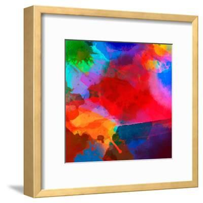 Abstract Watercolor Palette of Blue Colors, Mix Color, Background,Vector Illustration,A Mixture of- Vikpit-Framed Art Print