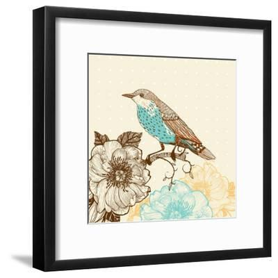 Vector Illustration of a Bird and Blooming Flowers in a Vintage Style-Anna Paff-Framed Art Print