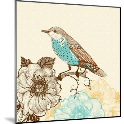 Vector Illustration of a Bird and Blooming Flowers in a Vintage Style-Anna Paff-Mounted Art Print