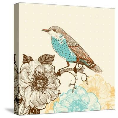 Vector Illustration of a Bird and Blooming Flowers in a Vintage Style-Anna Paff-Stretched Canvas Print