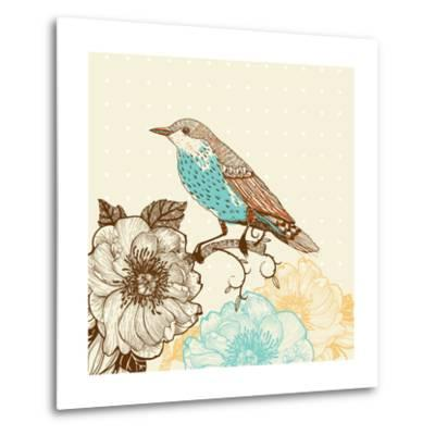 Vector Illustration of a Bird and Blooming Flowers in a Vintage Style-Anna Paff-Metal Print