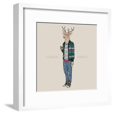 Deer Hipster Drinking Coffee-Olga_Angelloz-Framed Art Print