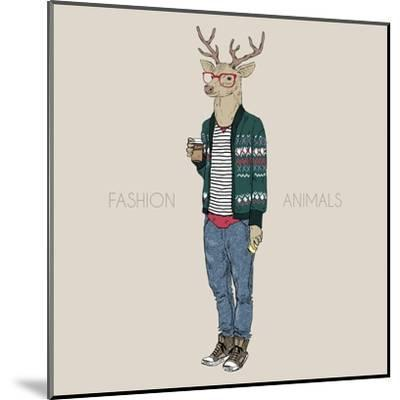 Deer Hipster Drinking Coffee-Olga_Angelloz-Mounted Art Print