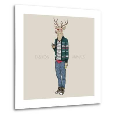 Deer Hipster Drinking Coffee-Olga_Angelloz-Metal Print