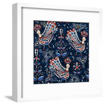 Vector Seamless Pattern with Folk Birds and Flowers-Anna Paff-Framed Art Print