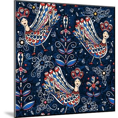 Vector Seamless Pattern with Folk Birds and Flowers-Anna Paff-Mounted Art Print