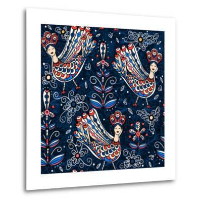 Vector Seamless Pattern with Folk Birds and Flowers-Anna Paff-Metal Print