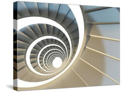 Abstract Endless Spiral Staircase with Soft Shadows. View from Above. 3D-Illustration-Maria Kazanova-Stretched Canvas Print