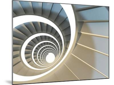 Abstract Endless Spiral Staircase with Soft Shadows. View from Above. 3D-Illustration-Maria Kazanova-Mounted Art Print