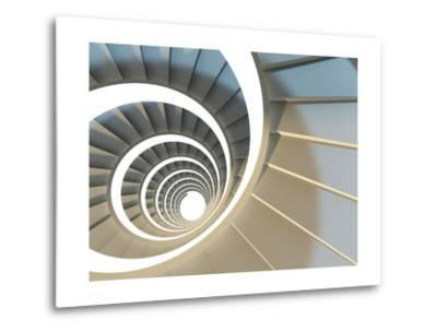 Abstract Endless Spiral Staircase with Soft Shadows. View from Above. 3D-Illustration-Maria Kazanova-Metal Print