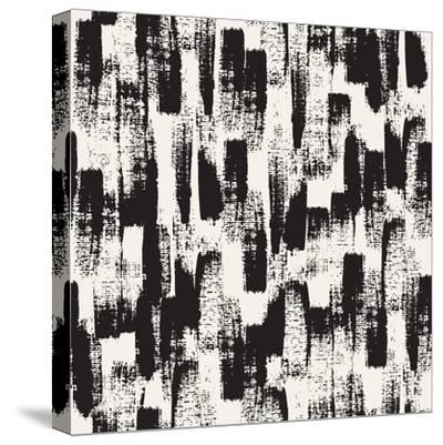 Vector Seamless Pattern. Abstract Background with Black Brush Strokes. Monochrome Hand Drawn Textur-Curly Pat-Stretched Canvas Print