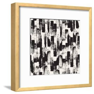 Vector Seamless Pattern. Abstract Background with Black Brush Strokes. Monochrome Hand Drawn Textur-Curly Pat-Framed Art Print