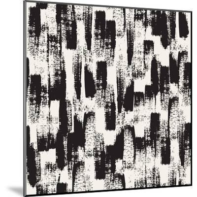 Vector Seamless Pattern. Abstract Background with Black Brush Strokes. Monochrome Hand Drawn Textur-Curly Pat-Mounted Art Print