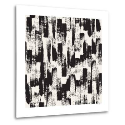 Vector Seamless Pattern. Abstract Background with Black Brush Strokes. Monochrome Hand Drawn Textur-Curly Pat-Metal Print