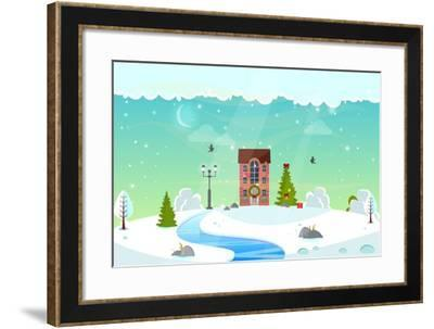 Winter Nature Landscape with River. Cute House with Christmas Fir-Tree, Lantern (Street Light) and- icanFly-Framed Art Print